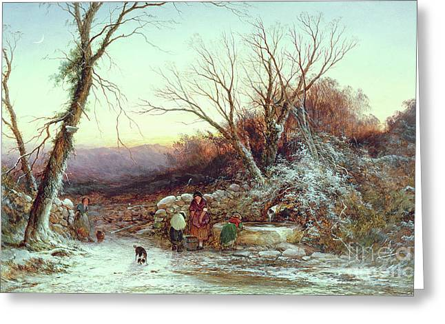 The Roadside Spring  Winter's Evening Greeting Card