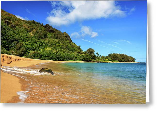 The Rock At Tunnels Beach Greeting Card by James Eddy