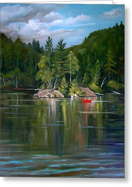 The Rock On Mirror In Woodstock New Hampshire Greeting Card