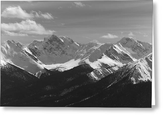 Greeting Card featuring the photograph The Rockies - B/w by Josef Pittner
