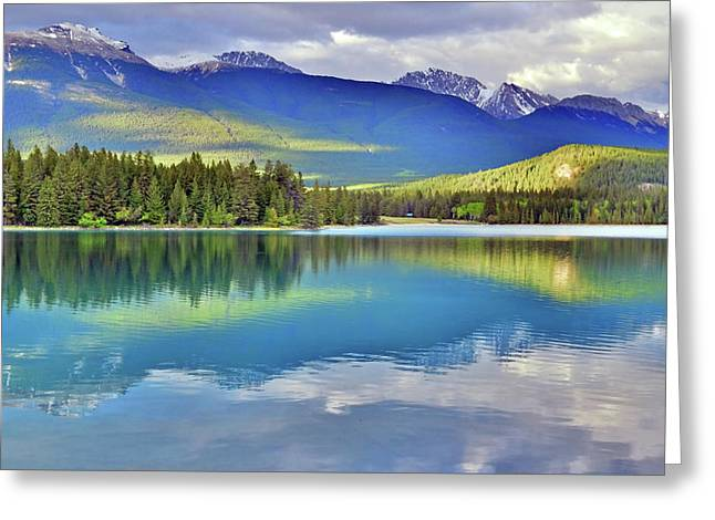 Greeting Card featuring the photograph The Rockies Reflected In Lake Annette by Tara Turner