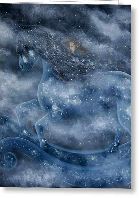 Greeting Card featuring the painting The Rocking Horse by Tone Aanderaa