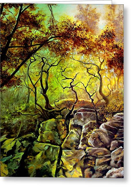 The Rocks In Starachowice Greeting Card by Henryk Gorecki