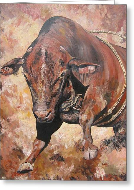 The Rodeo Bull Greeting Card by Leonie Bell