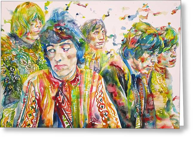 The Rolling Stones - Watercolor Portrait Greeting Card by Fabrizio Cassetta
