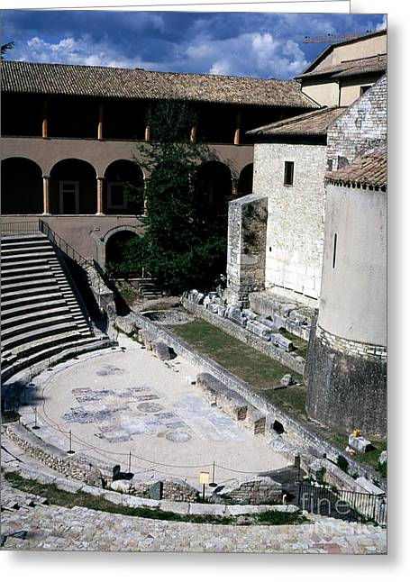 The Roman Amphitheatre First Century Seats And Stage Piazza Liberta Spoleto Umbria Italy Greeting Card
