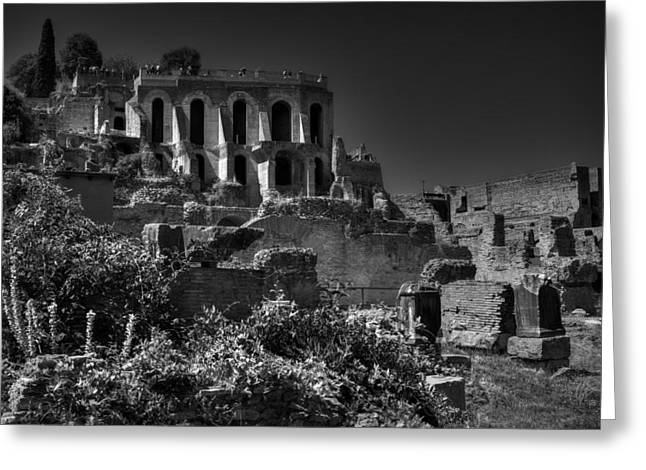 Greeting Card featuring the photograph The Roman Forum 001 Bw by Lance Vaughn