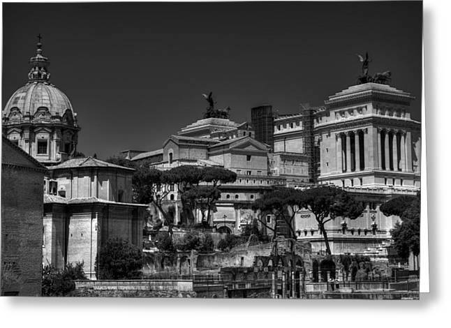 Greeting Card featuring the photograph The Roman Forum 002 Bw by Lance Vaughn