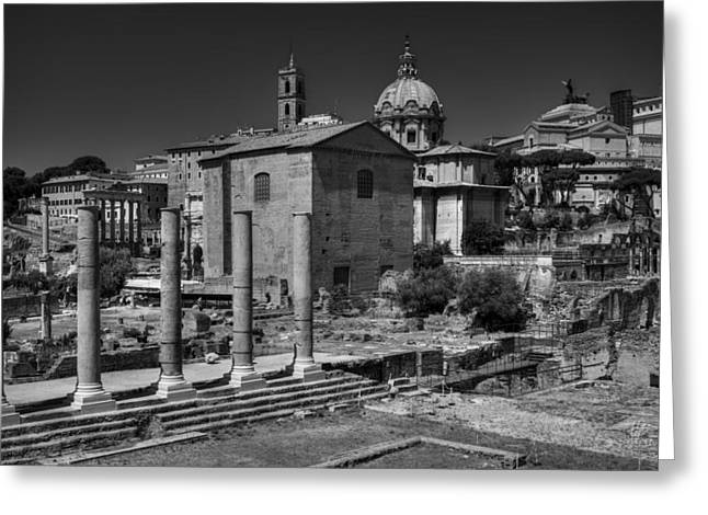 Greeting Card featuring the photograph The Roman Forum 003 Bw by Lance Vaughn