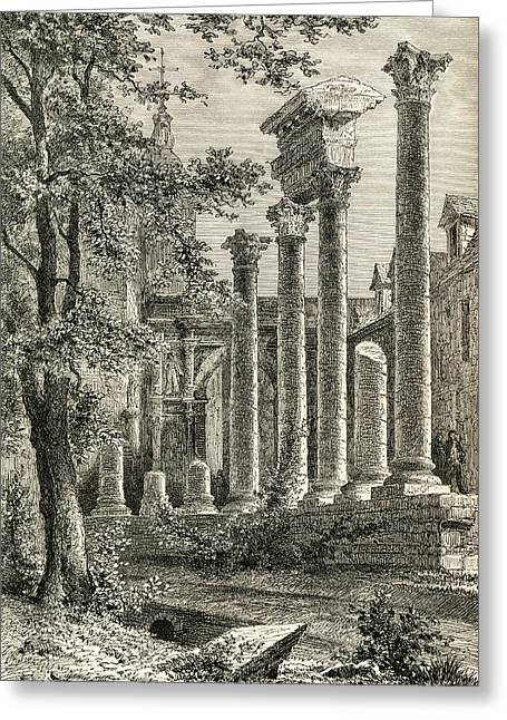 The Roman Theatre, Besan Greeting Card by Vintage Design Pics