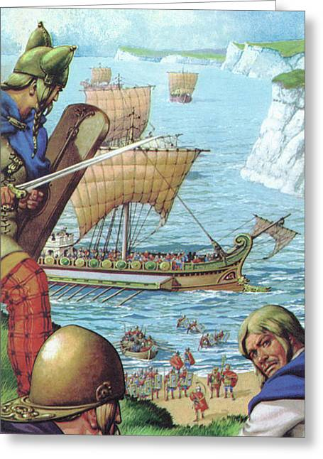 The Romans Invading Britain  Greeting Card