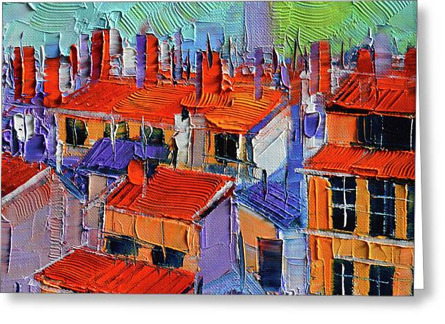 The Rooftops Greeting Card by Mona Edulesco