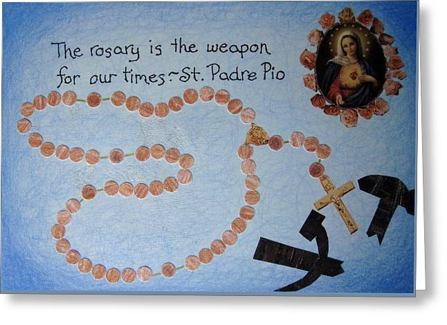 The Rosary Greeting Card by Margie Leeper