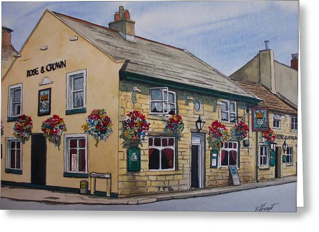 The Rose And Crown Otley Yorkshire Greeting Card by Victoria Heryet