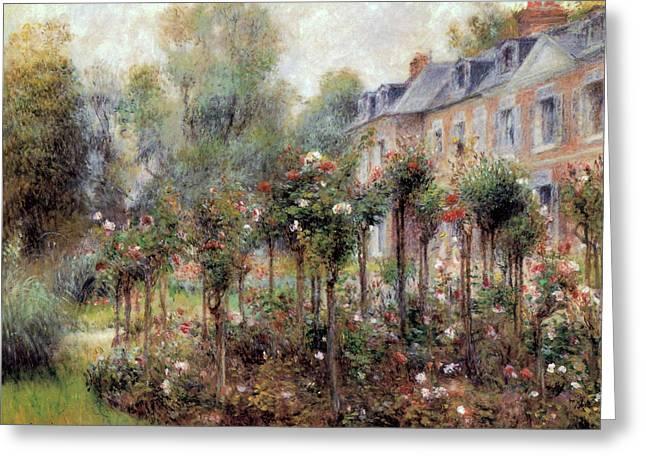 The Rose Garden At Wargemont Greeting Card by Pierre Auguste Renoir