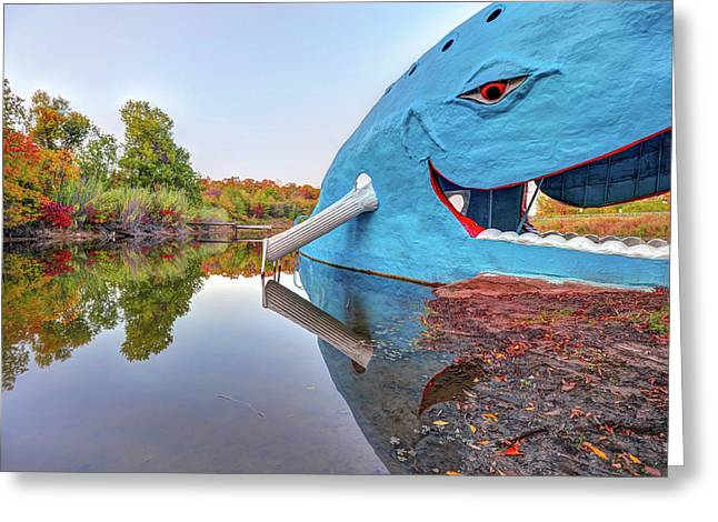 The Route 66 Blue Whale In Fall - Catoosa Oklahoma Greeting Card