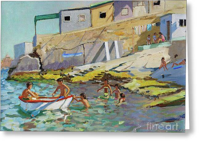 The Rowing Boat, Valetta, Malta Greeting Card by Andrew Macara