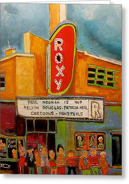 The Roxy In The Village Greeting Card by Michael Litvack