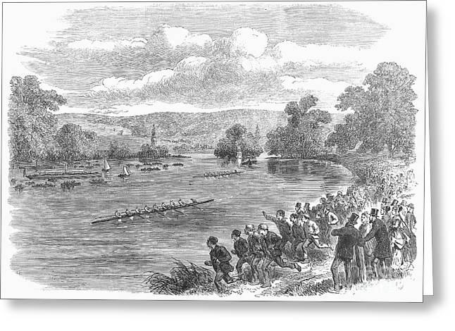 The Royal Henley Regatta At Henley-on Thames. Wood Engraving, English, 1869 Greeting Card