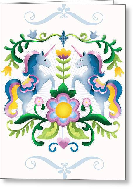 The Royal Society Of Cute Unicorns Light Background Greeting Card