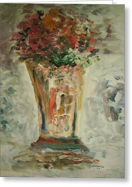 The Ruffled Stem Vase Greeting Card by Edward Wolverton