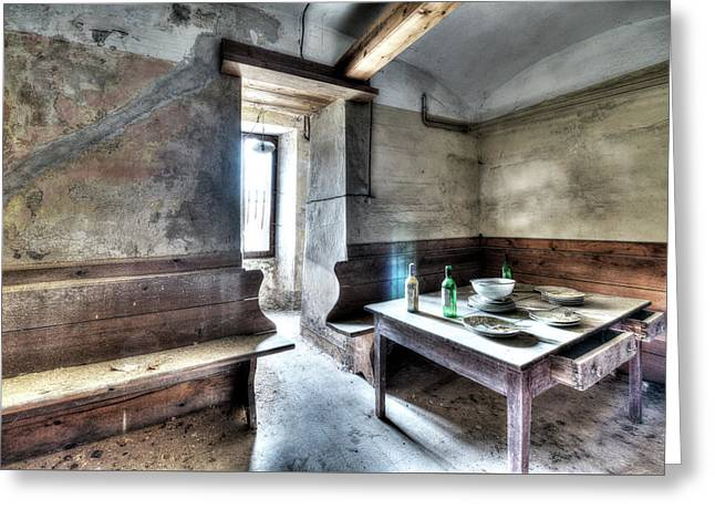 Greeting Card featuring the photograph The Rural Kitchen - La Cucina Rustica  by Enrico Pelos