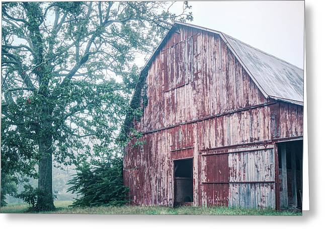 The Rural Life - Red Barn Landscape Greeting Card by Gregory Ballos