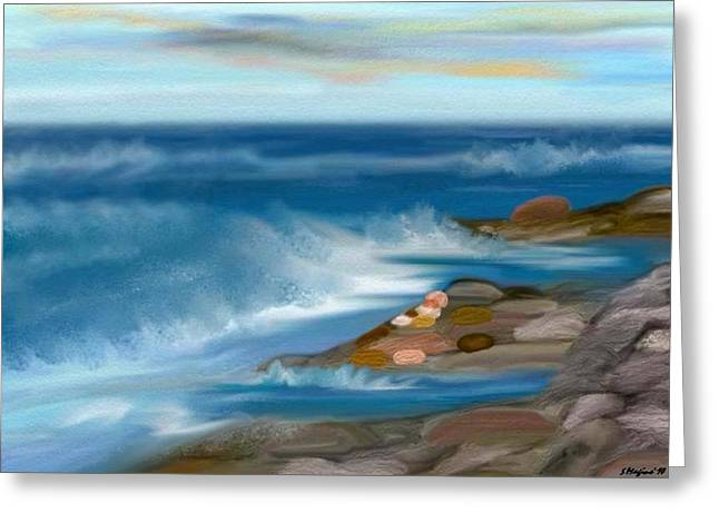 The Rush Of The Water Greeting Card by Sher Magins