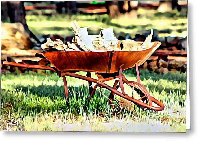 Greeting Card featuring the photograph The Rusted Wheelbarrow by Beauty For God