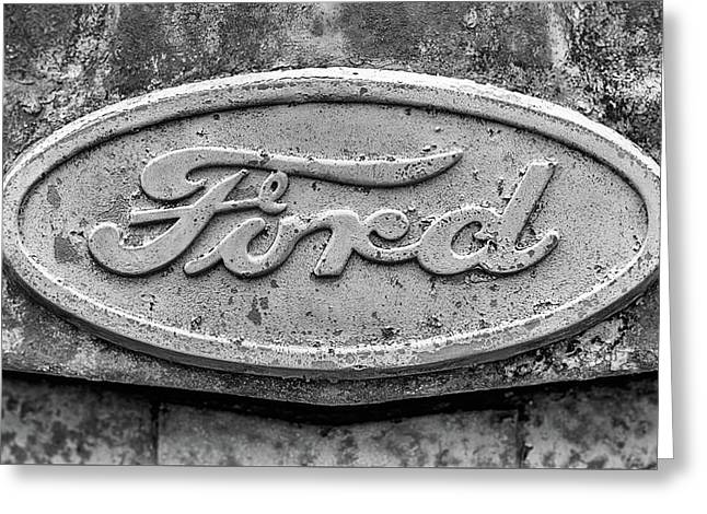 The Rusty Ford Emblem Black And White Greeting Card by JC Findley