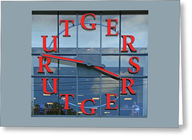 The Rutgers Clock Greeting Card by Allen Beatty