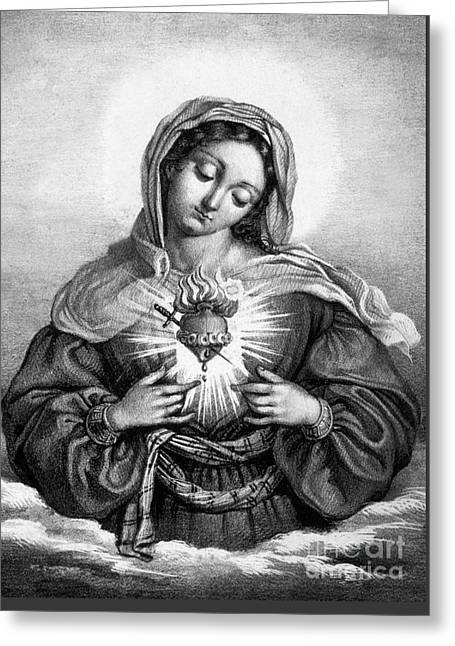 The Sacred Heart Of Mary Greeting Card by French School