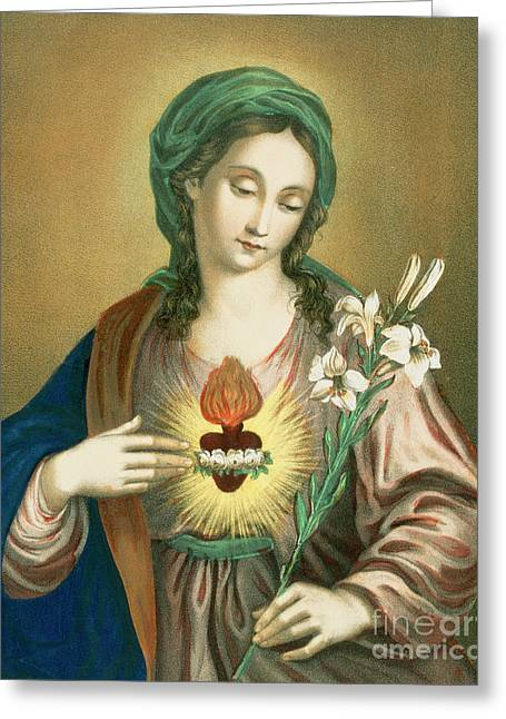 The Sacred Heart Of Mary Greeting Card by German School