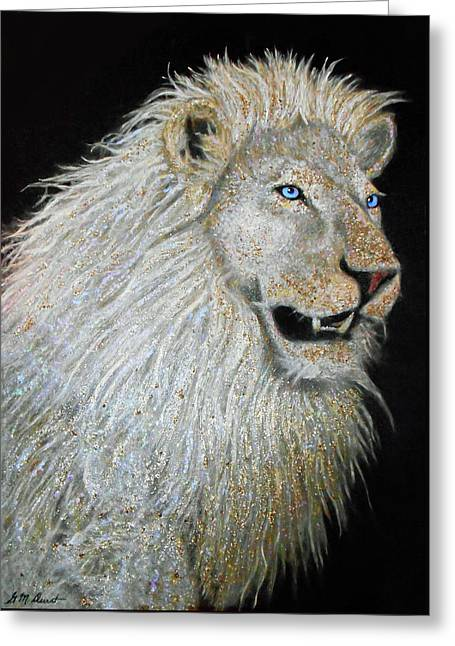 The Sacred Spirit Of The White Lion Greeting Card by Michael Durst