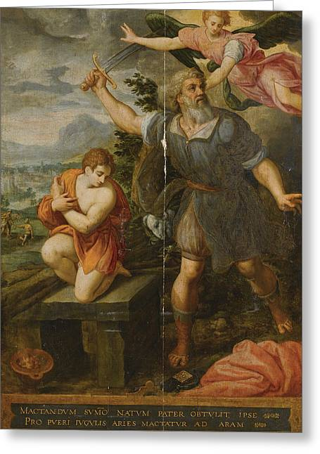 The Sacrifice Of Isaac Greeting Card by Follower of Jacob de Backer