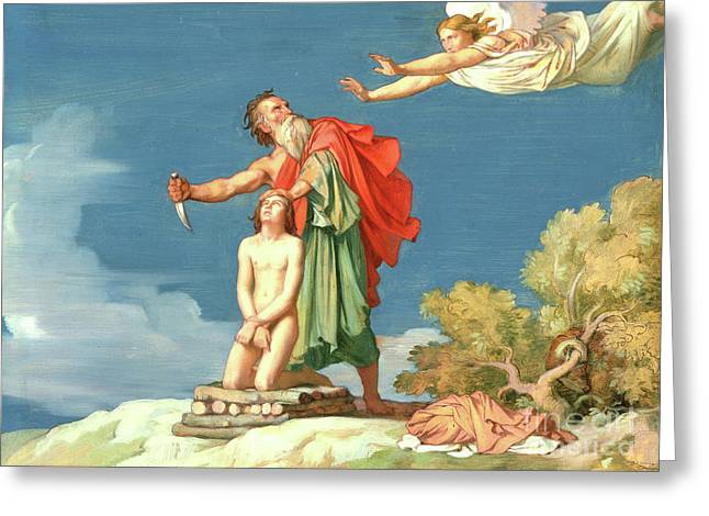 The Sacrifice Of Isaac Greeting Card by Hippolyte Flandrin