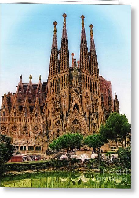 The Sagrada Familia Greeting Card by Sue Melvin