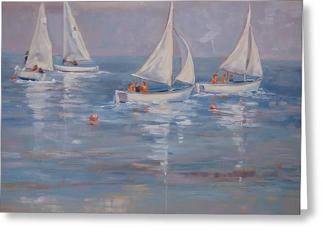 The Sailing Lesson Greeting Card by Barbara Hageman