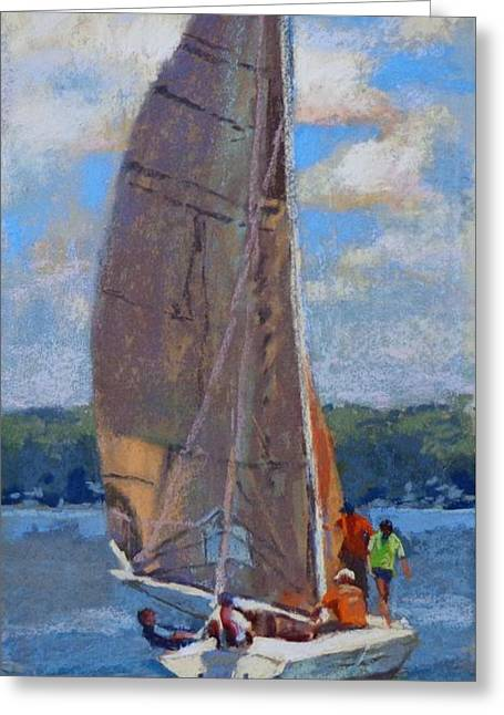 The Sailing Lesson Greeting Card by Donna Shortt