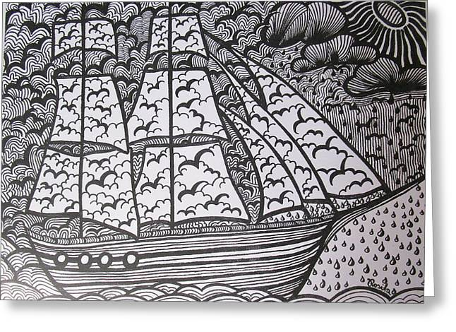 The Sailing Ship Greeting Card by Rosita Larsson