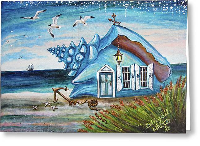 The Sailor's Conch House Greeting Card by Abigail White