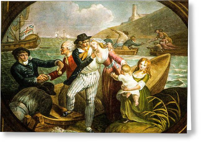 Schooner Greeting Cards - The Sailors Farewell 1785 Greeting Card by T H  Ramberg
