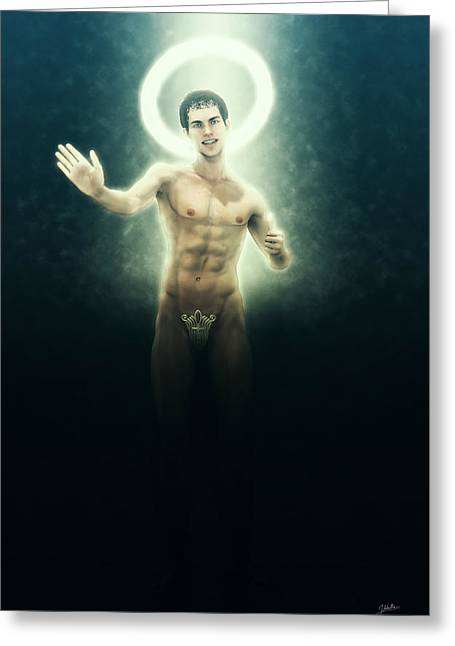 The Saint Appeared From The Dark Greeting Card by Joaquin Abella