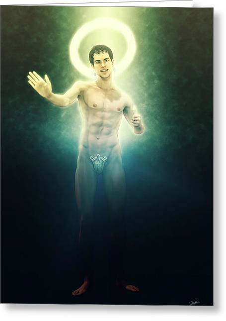 The Saint Appeared Greeting Card by Joaquin Abella