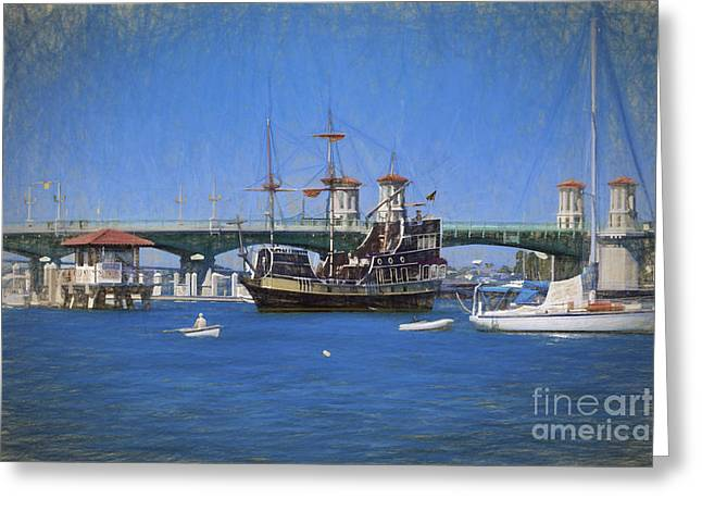 The Saint Augustine Harbor In Pastels Greeting Card by C W Hooper
