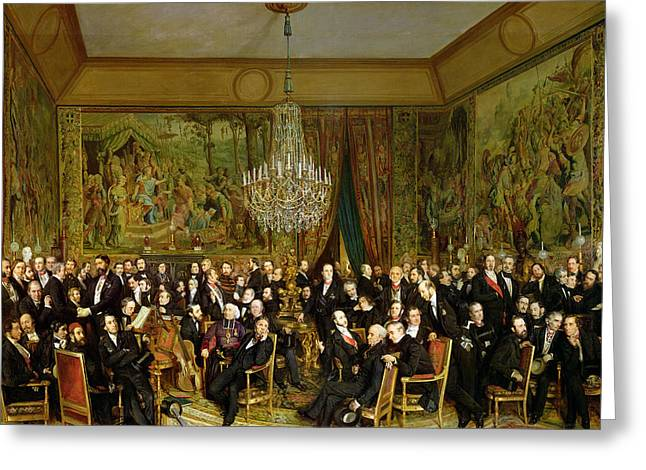 The Salon Of Alfred Emilien At The Louvre Greeting Card by Francois Auguste Biard