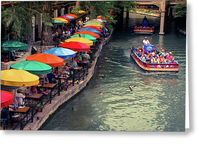 The San Antonio Riverwalk - Texas Art Greeting Card by Gregory Ballos