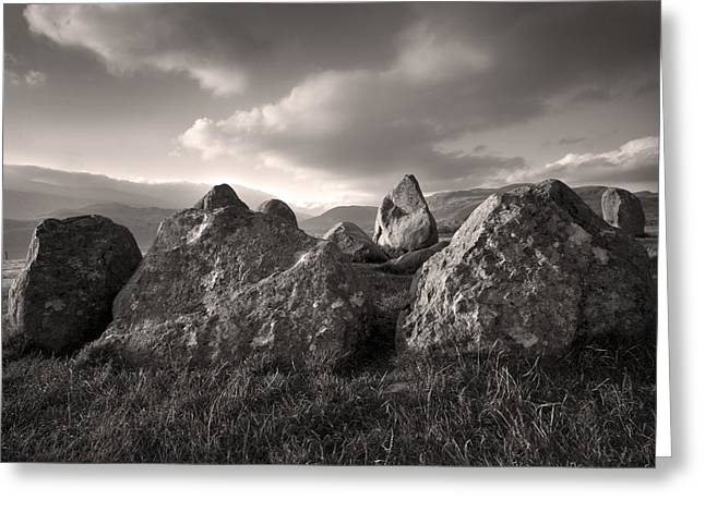 The Sanctuary Castlerigg Stonecircle Sepia Greeting Card by Brian Northmore