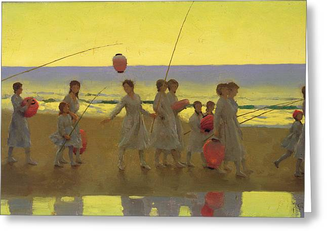 The Sands Greeting Cards - The Sand Bar  Greeting Card by Thomas Cooper Gotch