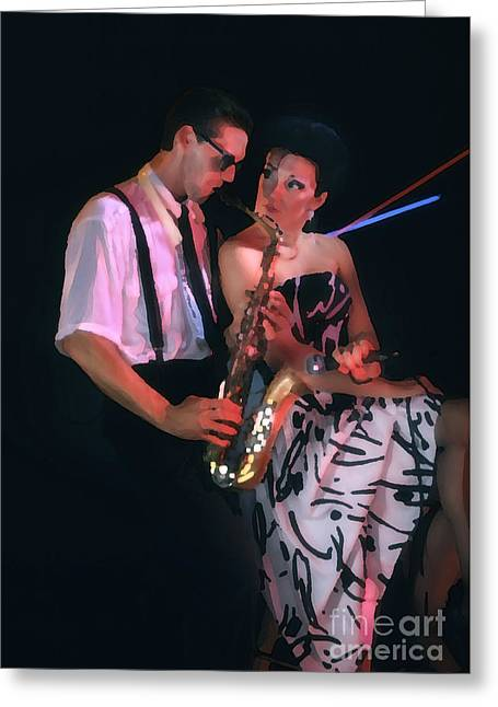 The Sax Man And The Girl Greeting Card by Greg Kopriva